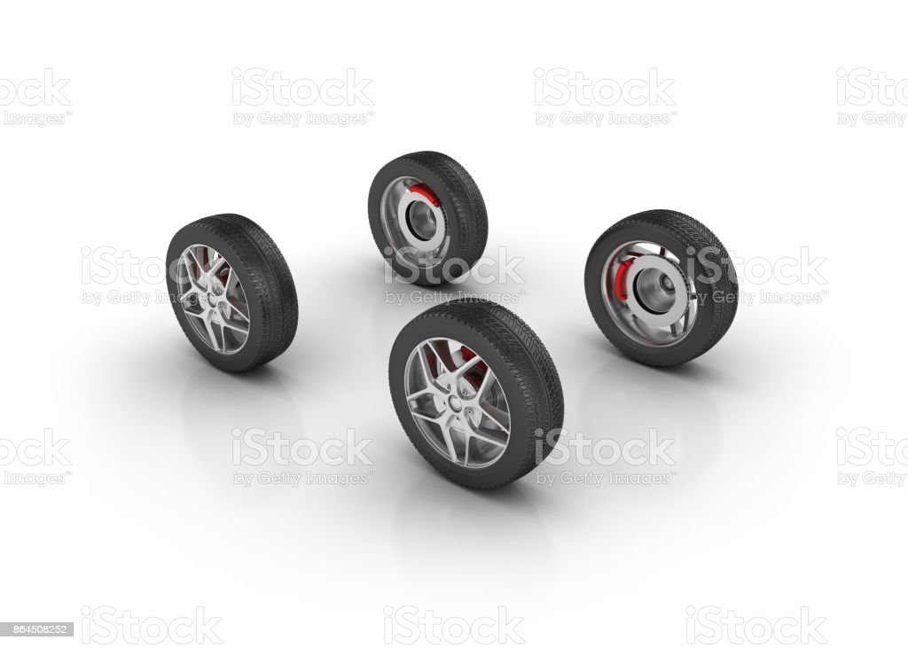 Car Tires - 3D Rendering stock photo