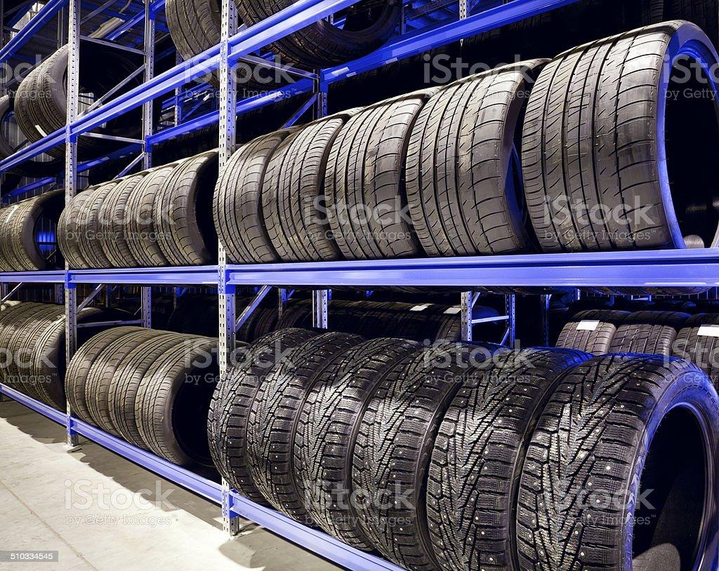 Car tires closeup stock photo
