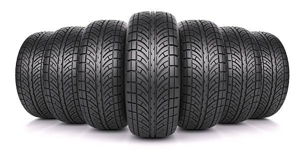 car tires in row - autoband stockfoto's en -beelden