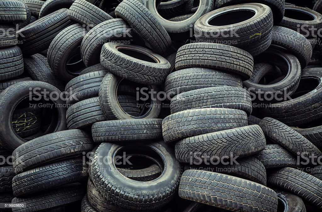 car tires pile stock photo