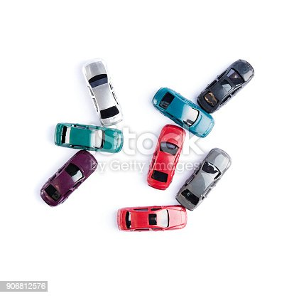 istock Car toy colorful watercolor style crash accident isolated on white background on top view 906812576