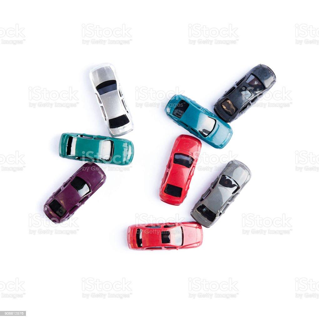 Auto Spielzeug bunte Aquarell Stil crash Unfall isoliert auf weißem Hintergrund in Draufsicht – Foto