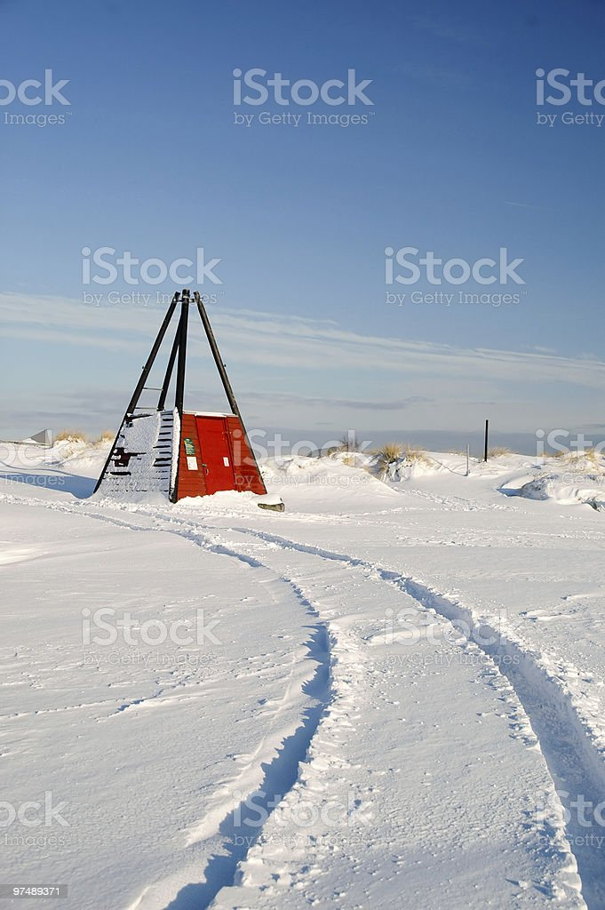 Car track in the snow royalty-free stock photo