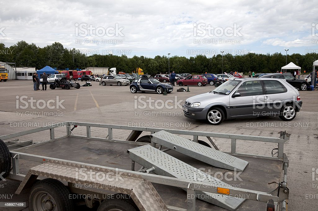 Car trailer at autocross rally event stock photo
