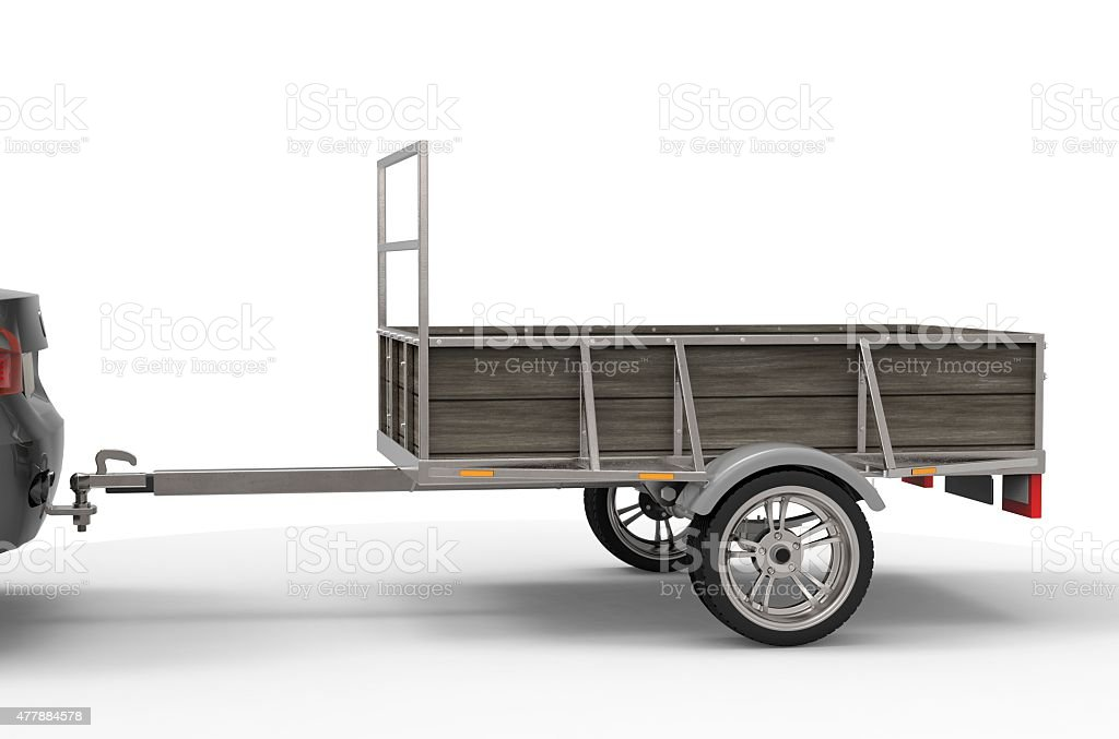 car trailer isolated on a white background stock photo