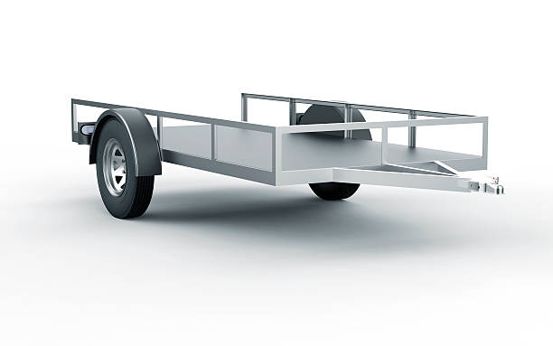 car trailer isolated on white car trailer isolated on white vehicle trailer stock pictures, royalty-free photos & images