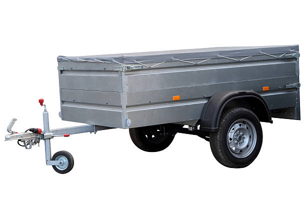 Car trailer. Car trailer, isolated on white background. vehicle trailer stock pictures, royalty-free photos & images