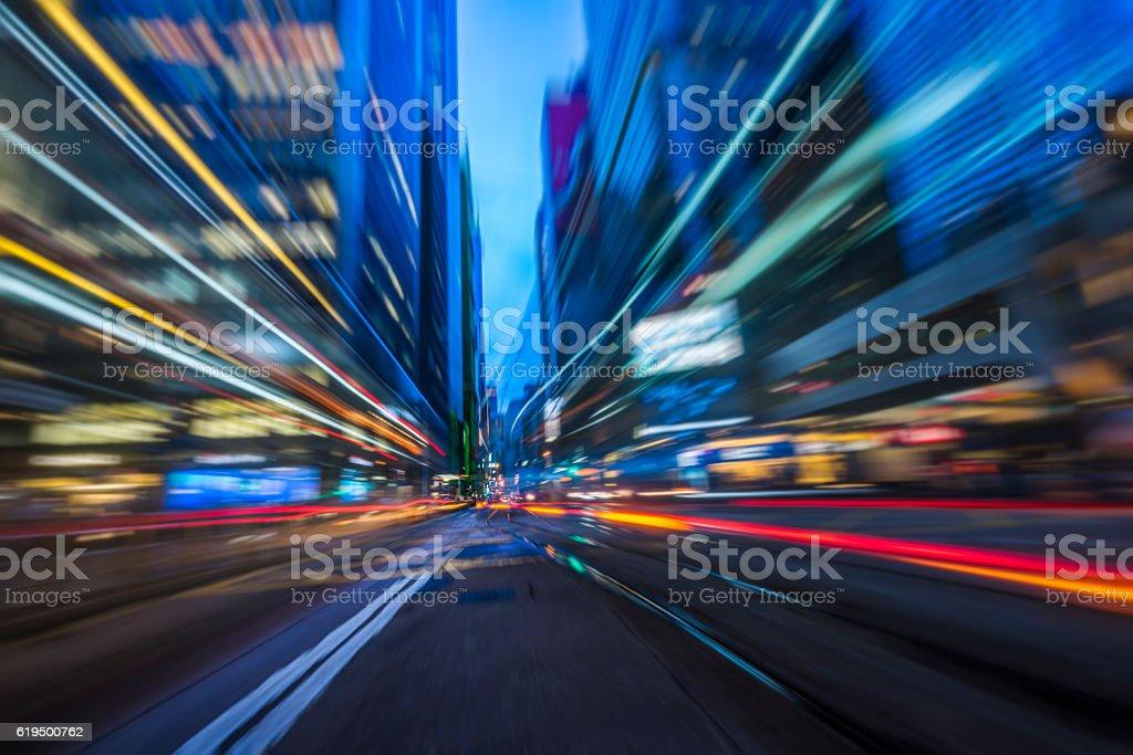 car trails at night,Hong Kong stock photo