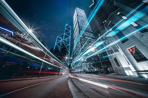 Car trails on night street at Hong Kong central
