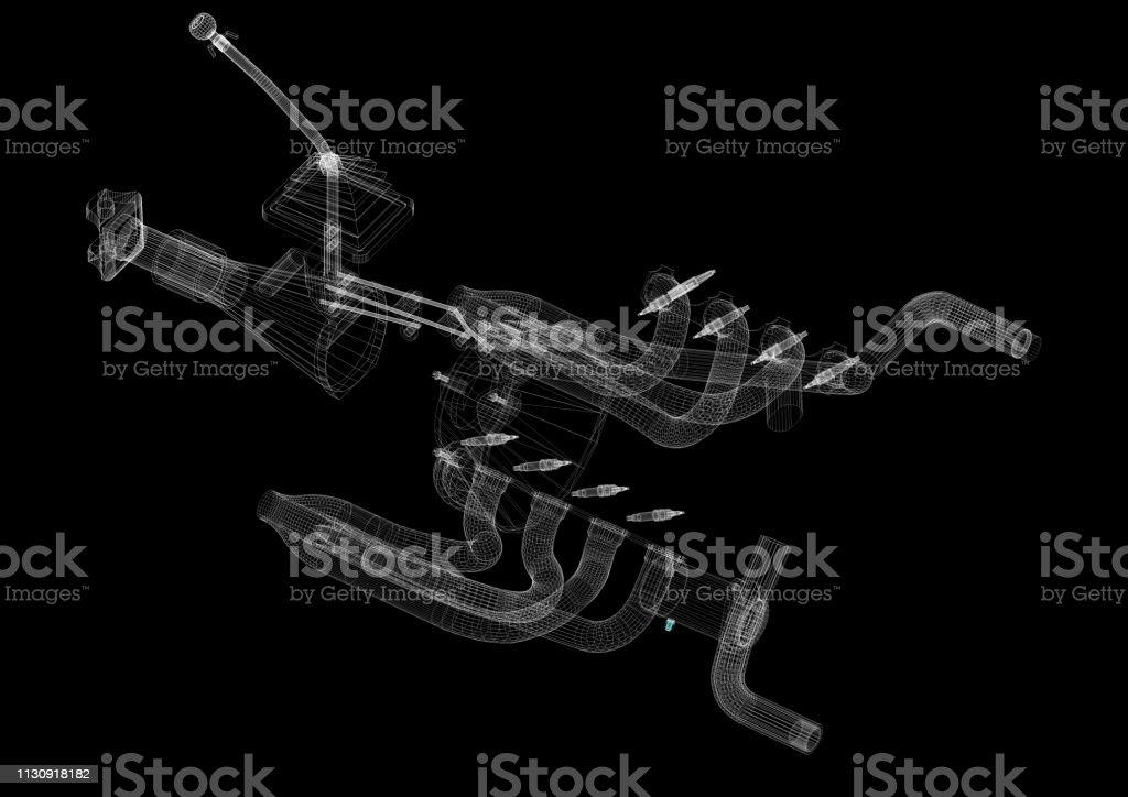 car transmission Architect Blueprint stock photo