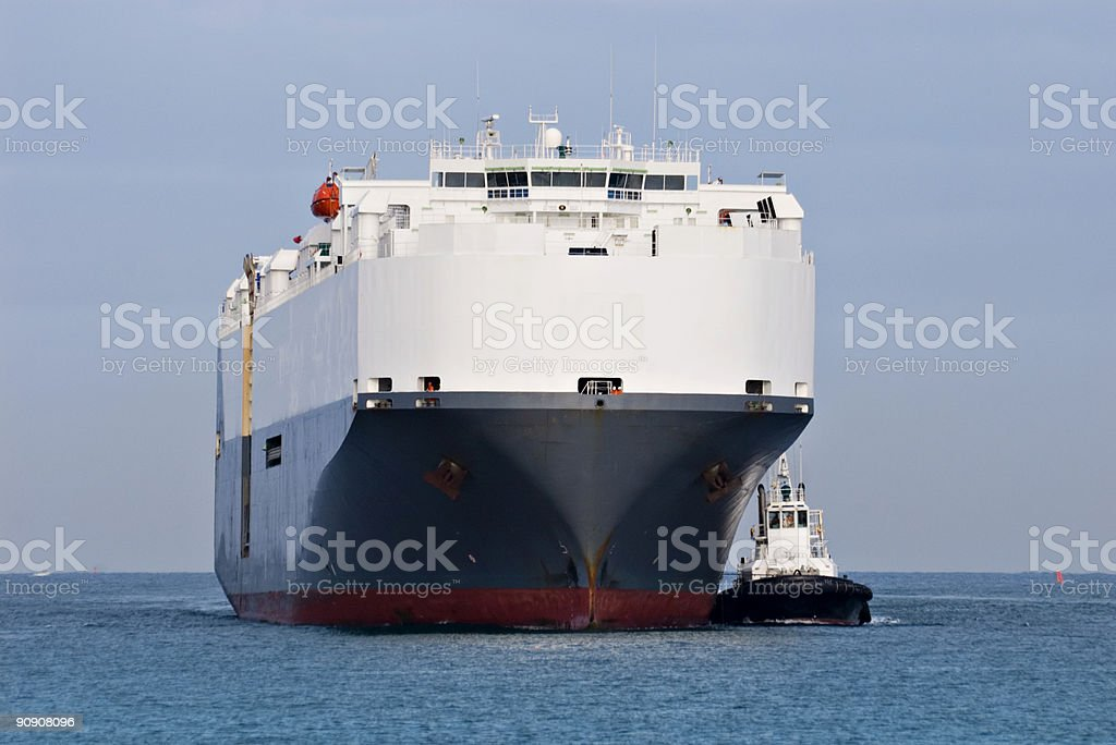 Car Transport Ship Approaching Port royalty-free stock photo