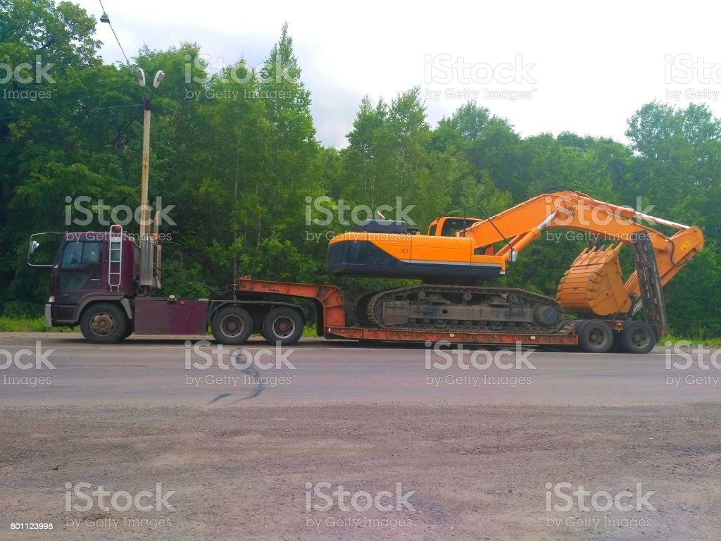 Car transport truck stock photo