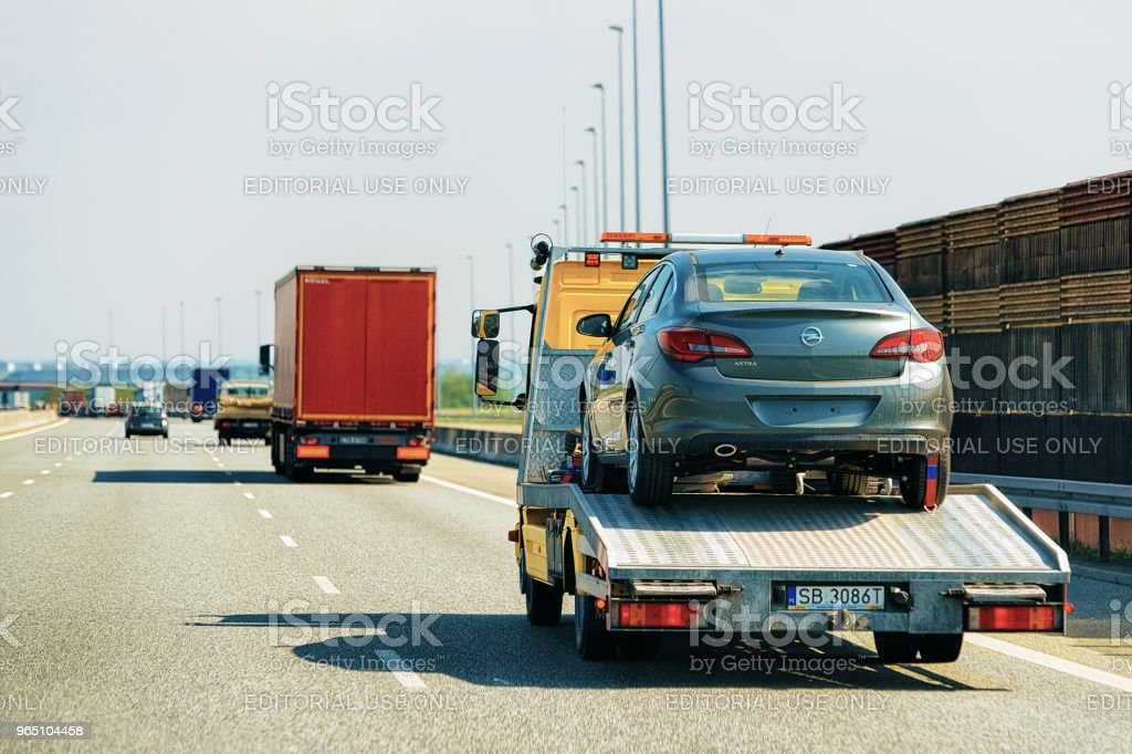Car transporter at road in Czech republic Europe royalty-free stock photo