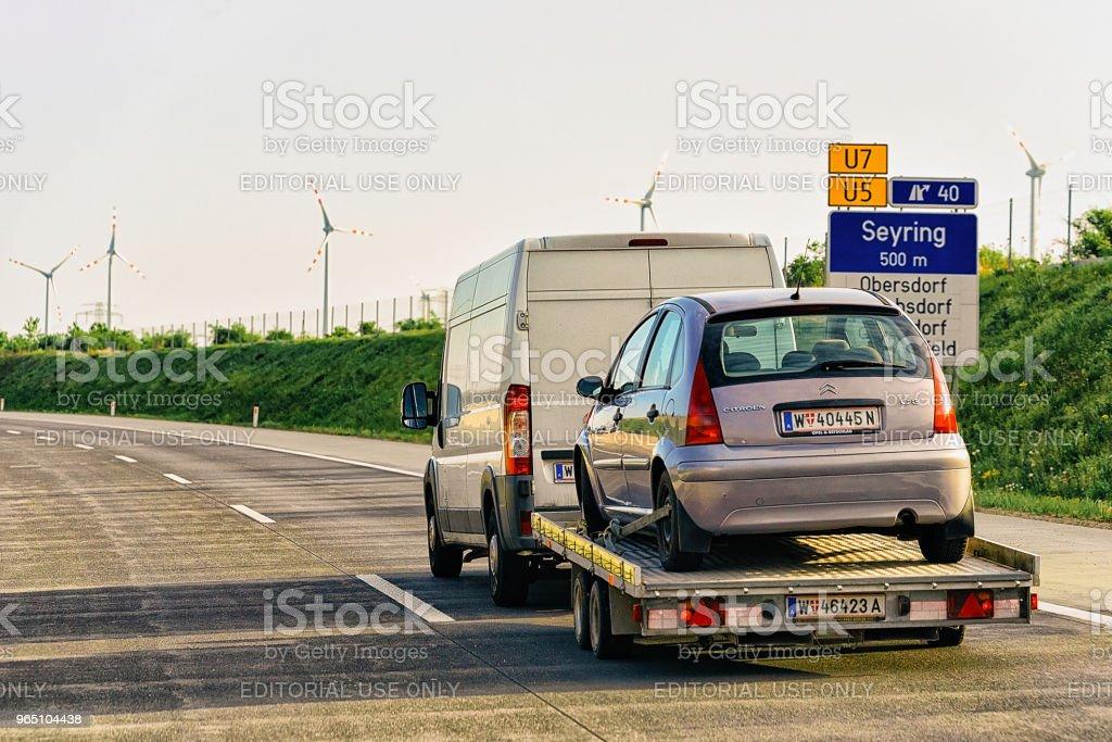 Car transporter in road in Czech republic Europe zbiór zdjęć royalty-free