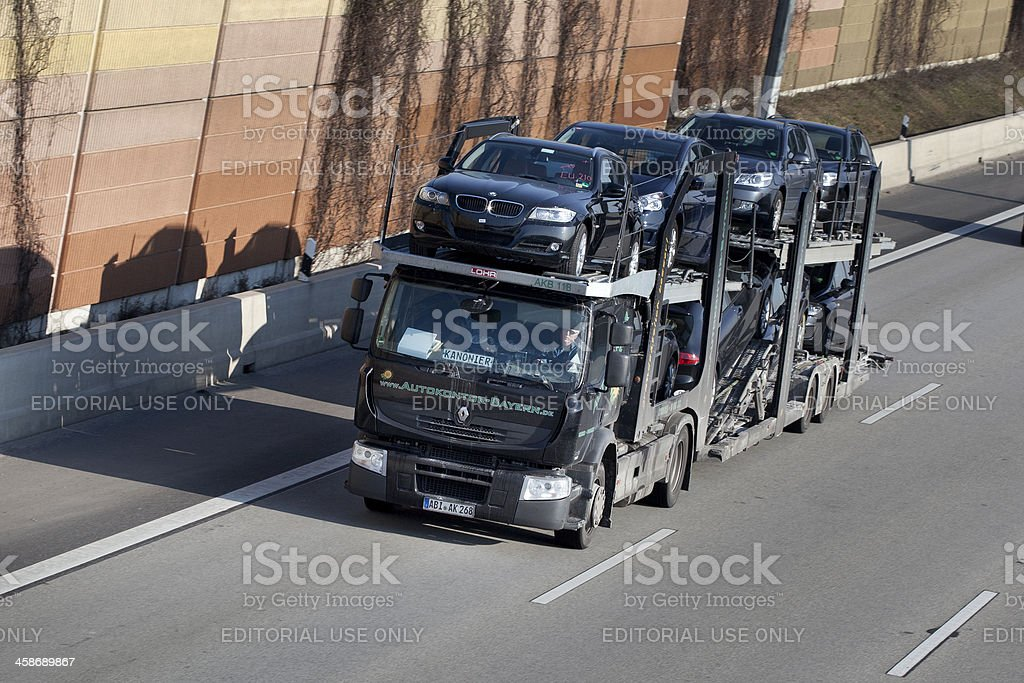 Car transporter on german Autobahn royalty-free stock photo