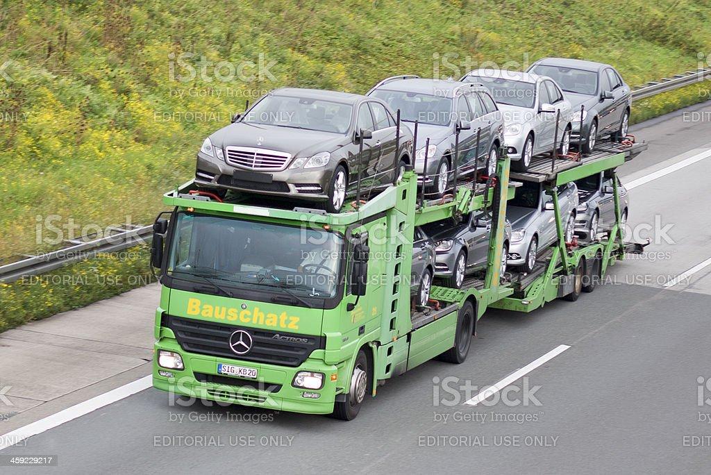 Car transporter on german Autobahn stock photo