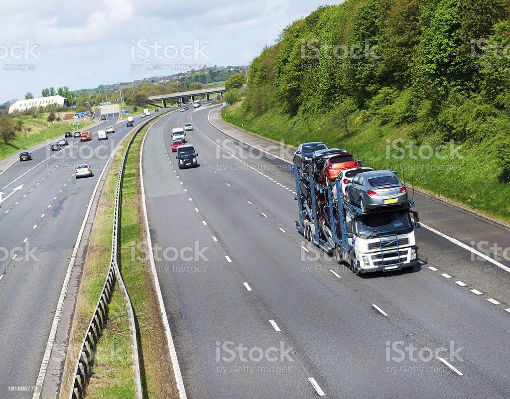 Car Transporter on UK Motorway stock photo