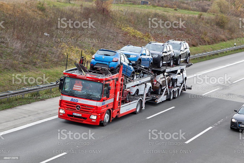Car transporter stock photo