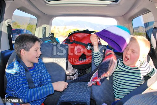 Looking into the back of the car at two children passengers passing the trip away teasing, fighting, being silly.