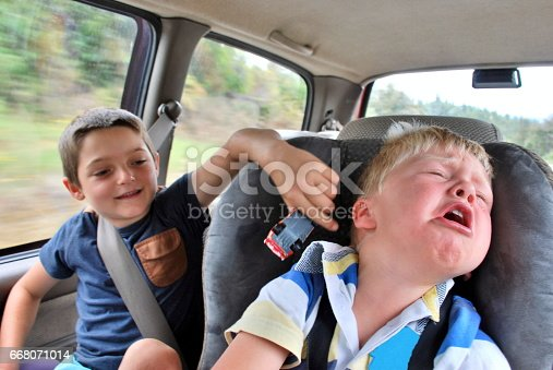 Looking into the back of the car at two children passengers passing the trip away teasing and crying.