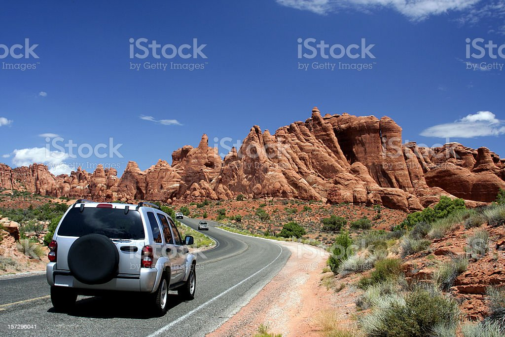 Car Traveling in Arches National Park royalty-free stock photo