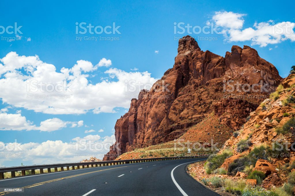 Car trip in Arizona, United States. Highway 89 stock photo