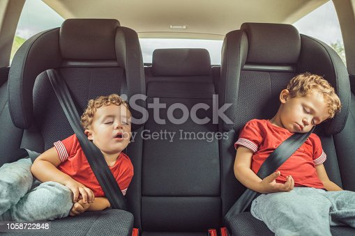Brothers sleeping in car