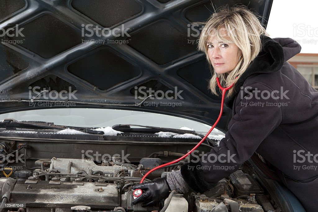 Car trouble diagnosis royalty-free stock photo