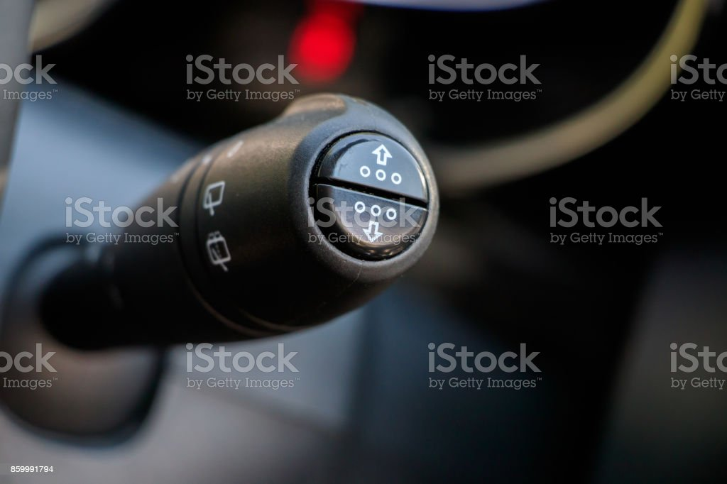 Car turn signal lever stock photo
