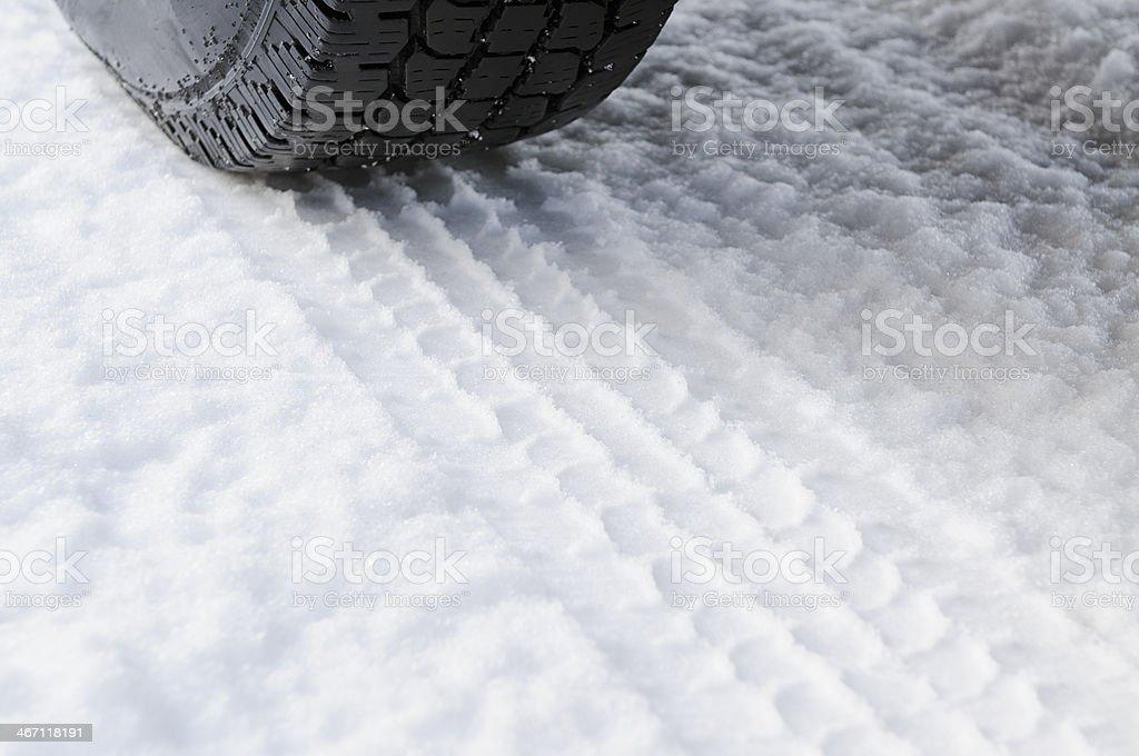 Car Tyre On Fresh Snow royalty-free stock photo
