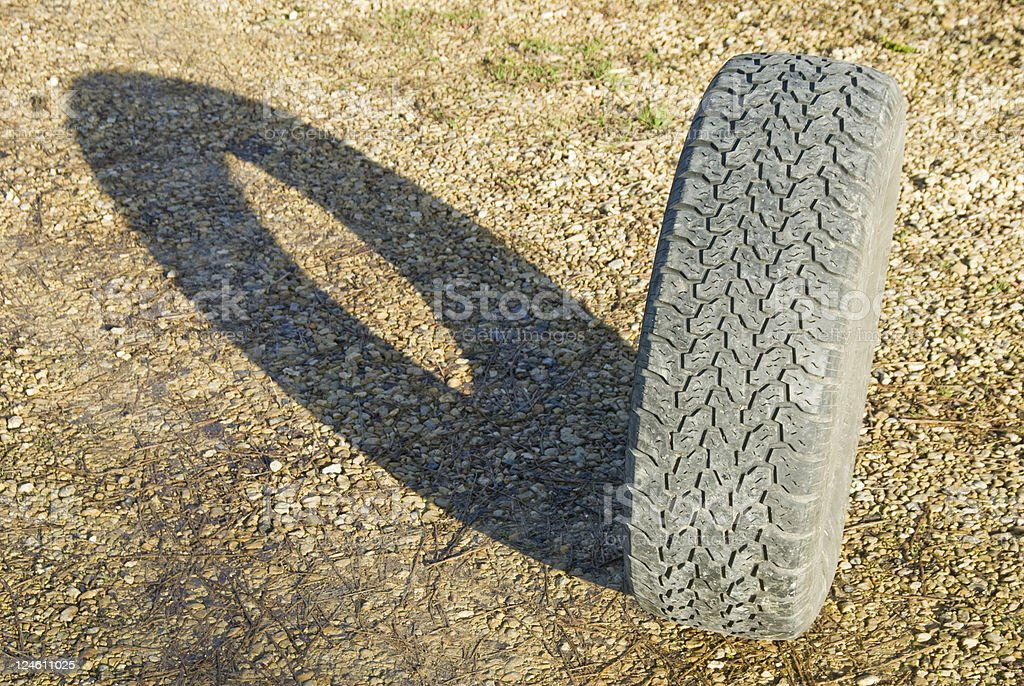 Car tyre shadow royalty-free stock photo