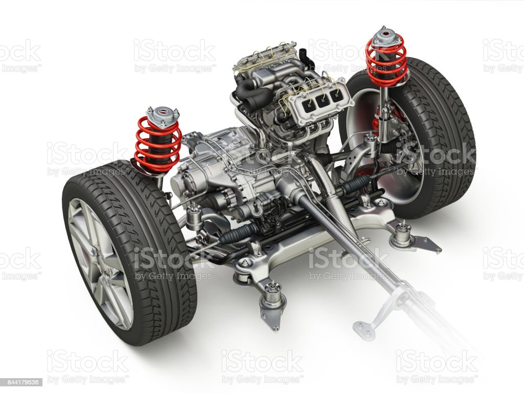 SUV Car Under carriage technical 3 D rendering. Front part. stock photo