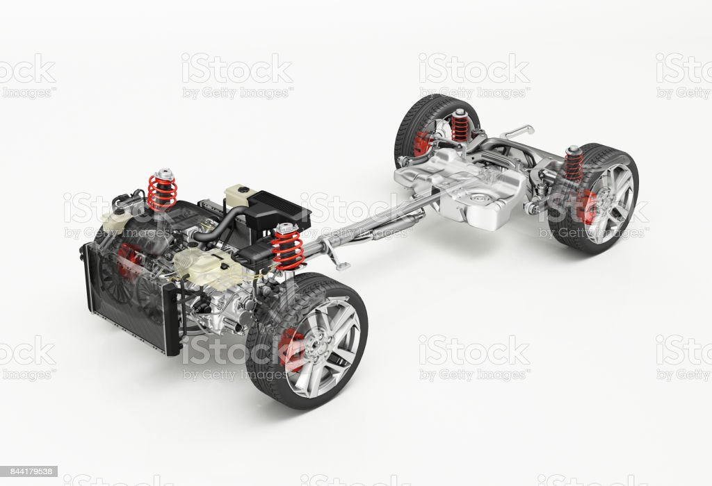 SUV Car Under carriage technical 3 D rendering stock photo