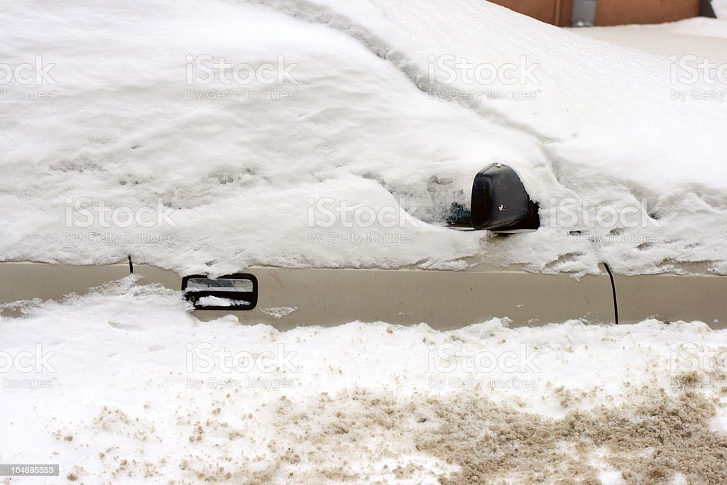 Car under snow in winter stock photo
