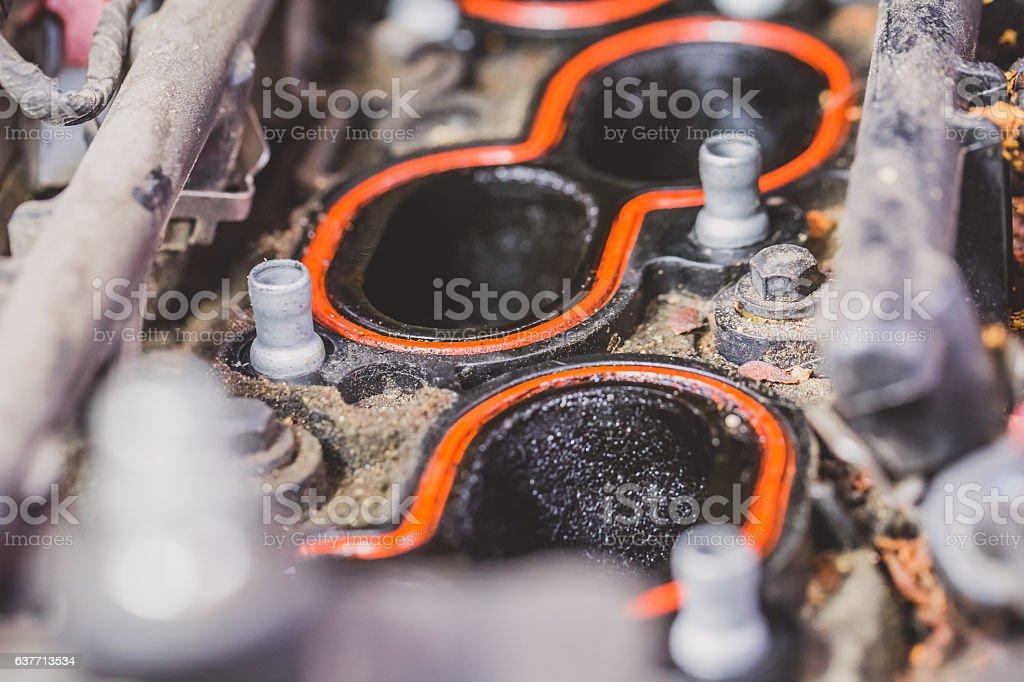 Car valve cover open stock photo