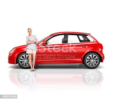 istock Car Vehicle Hatchback Transportation 3D Illustration Concept 486502848