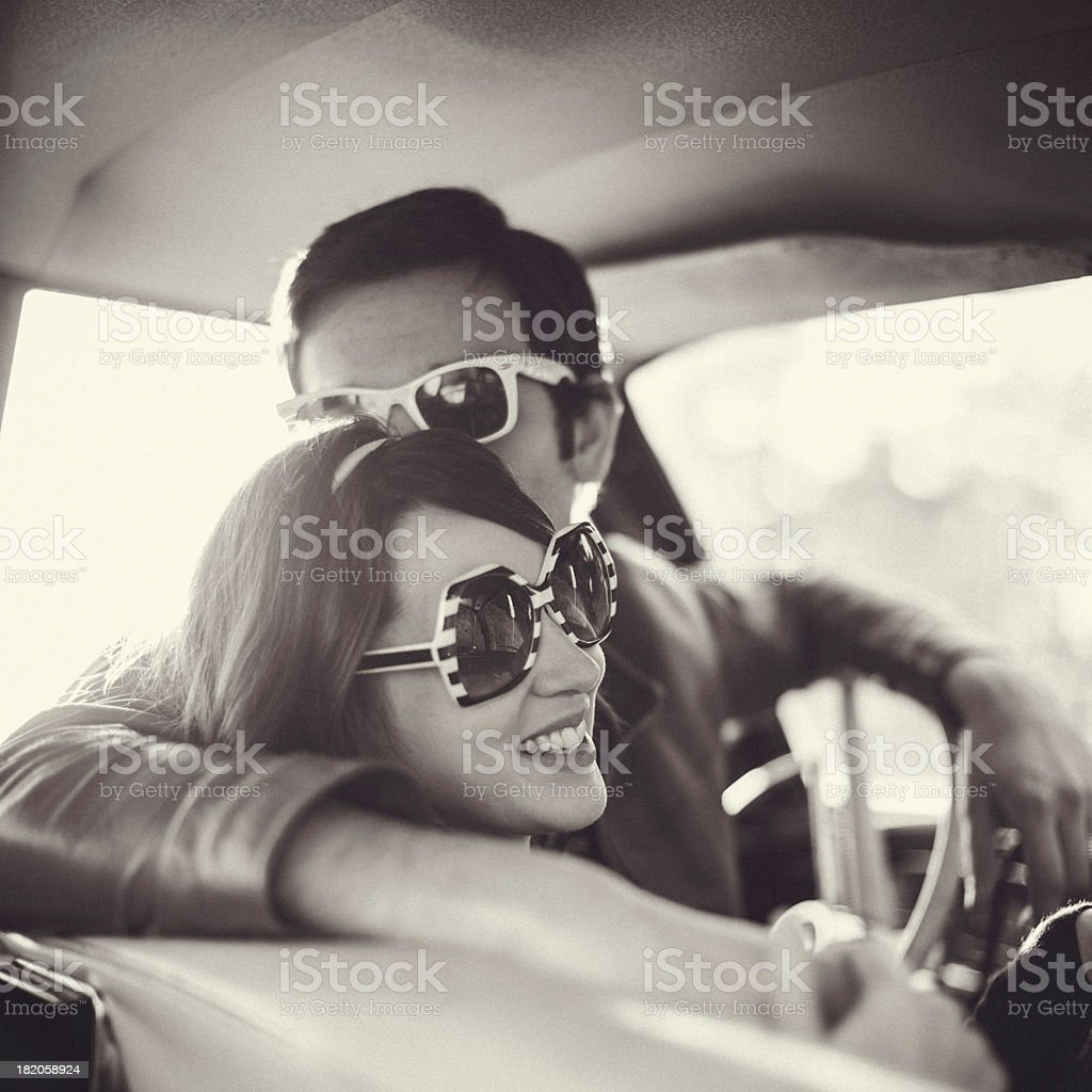 Car Vintage Interior Couple B&W stock photo
