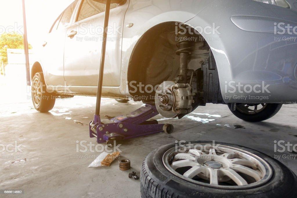 Car waiting changing wheel royalty-free stock photo