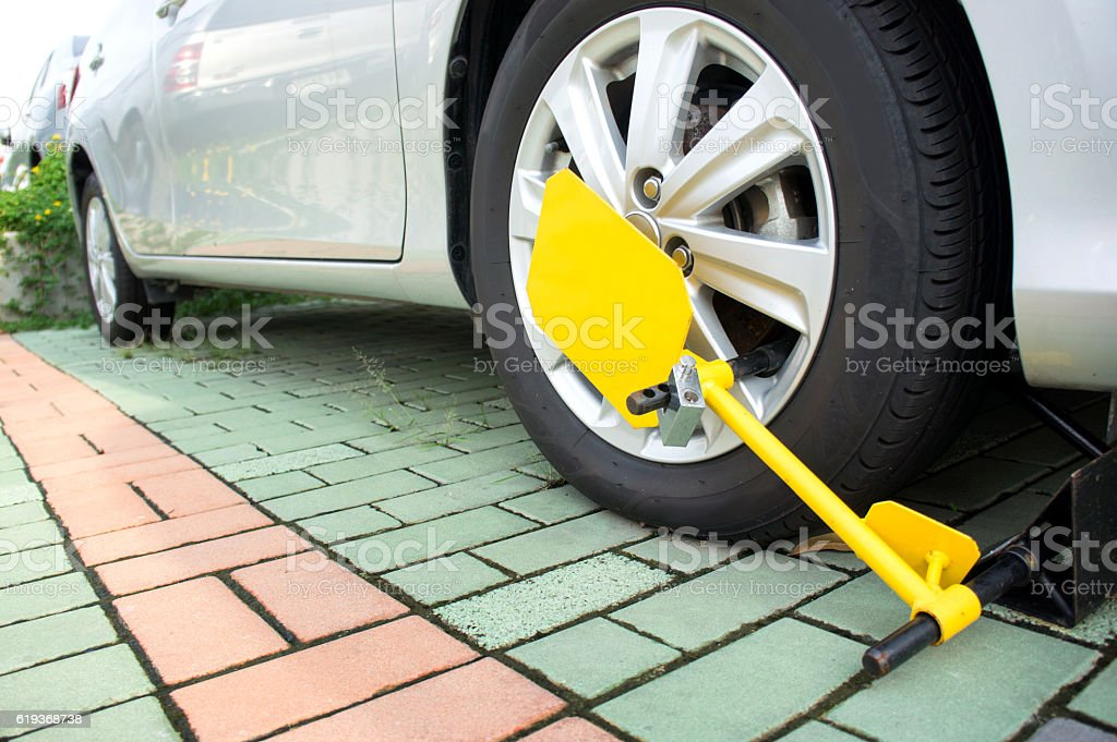 Car was locked with clamped vehicle stock photo
