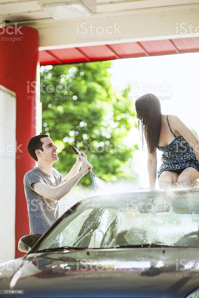 Car Wash Couple stock photo