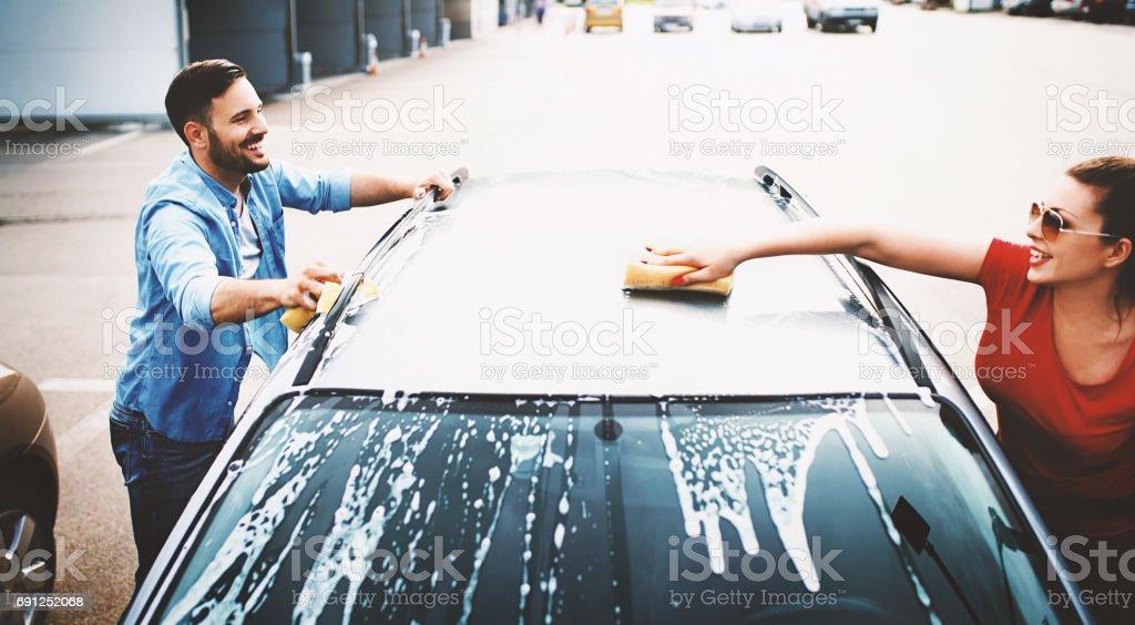 Car wash self service. stock photo