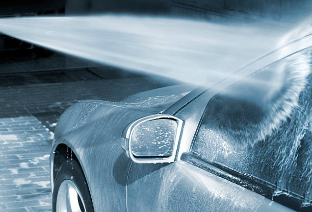 Car Wash with high pressure cleaner carwash hood river valley stock pictures, royalty-free photos & images