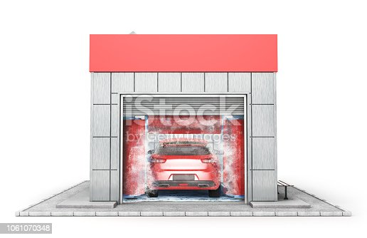 istock Car washing building isolated on a white. 3d illustration 1061070348
