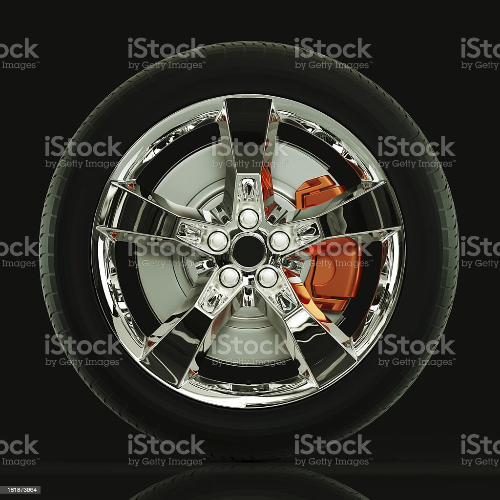 Car wheel and brake rendering high quality. stock photo