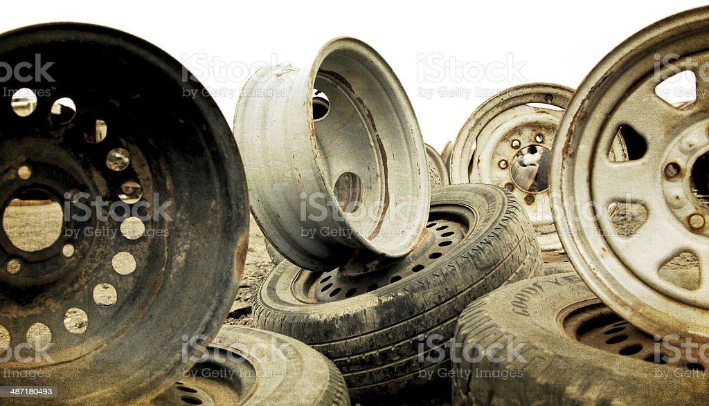 Car wheel and hubcap stock photo