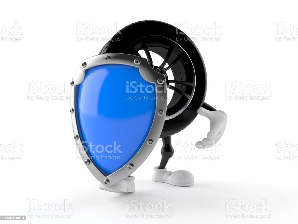 Car wheel character with protective shield - Foto stock royalty-free di Automobile