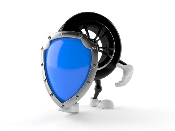 Car wheel character with protective shield - foto stock