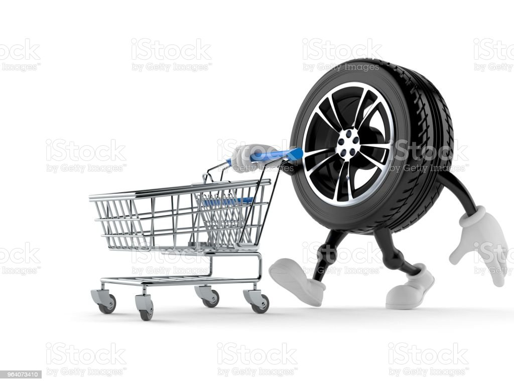 Car wheel character with shopping cart - Royalty-free Buying Stock Photo