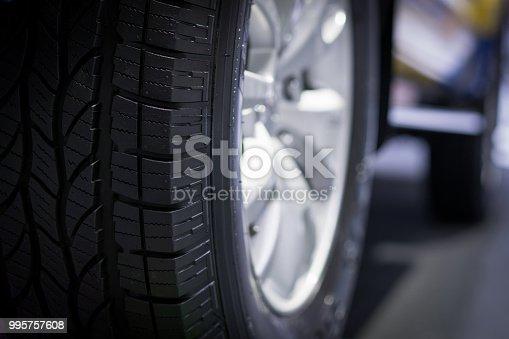 istock Car wheel closeup, blur background 995757608