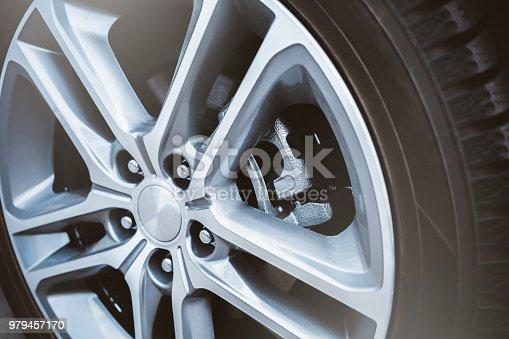 car wheel. disc brakes. caliper and pads.